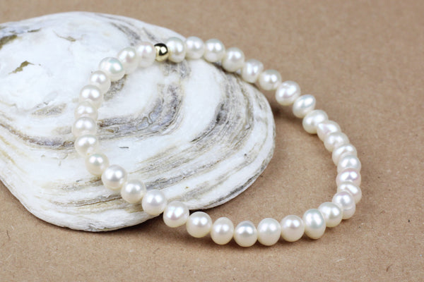 Elasticated Freshwater Pearl Bracelet (June Birthstone)