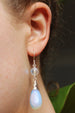 Wire-wrapped Silver, Opalite and Glow Bead Drop Earrings