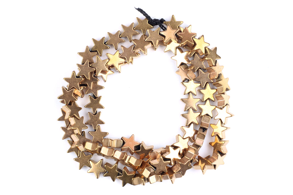 Gold / Copper Star Hematite Beads – 6mm (Approx. 85 beads)