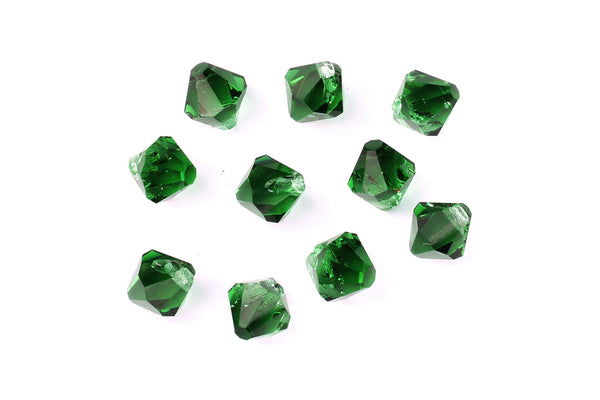 Kerrie Berrie Machine Cut Loose Glass Beads in Green for Jewellery Making