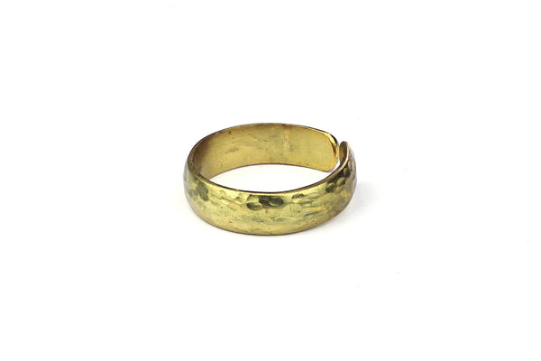 Kerrie Berrie Adjustable Brass Ring with Textured Hammered Surface