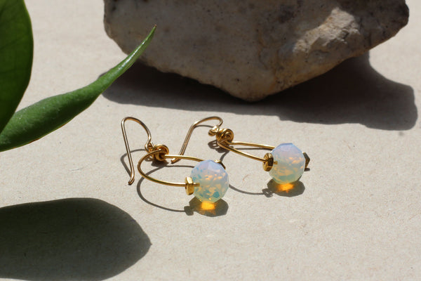 Kerrie Berrie Handmade Gold Opalite Drop Earrings