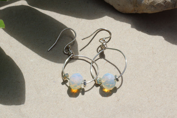 Kerrie Berrie Handmade Silver Opalite Drop Earrings