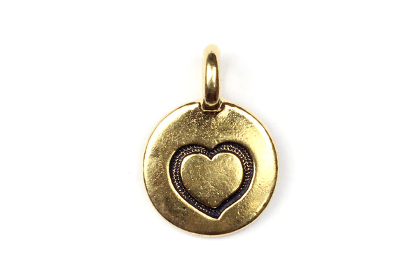Gold Tierracast Heart Charm