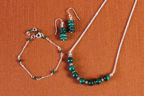 Malachite & Silver Jewellery Gift Set – Necklace, Bracelet & Earrings