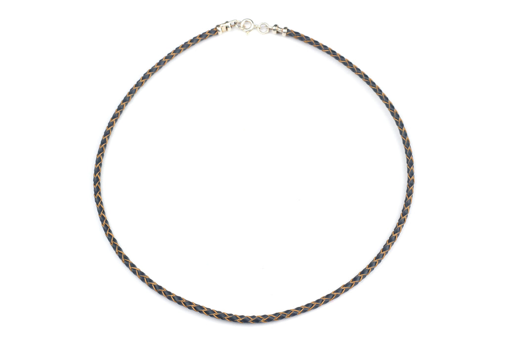 "Grey Leather Cord Necklace w/ Sterling Silver (Choice of 16"", 18"" or 20"")"