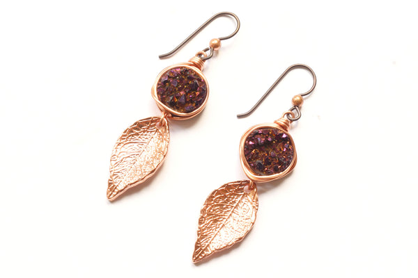 Kerrie Berrie Rose Gold plated Rainbow Druzy Crystal Earrings Drusy Jewellery Rose Gold Leaf Charm