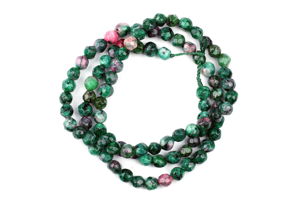 Kerrie Berrie UK Semi Precious Agate Bead Strands for Jewellery Making in Green and Pink
