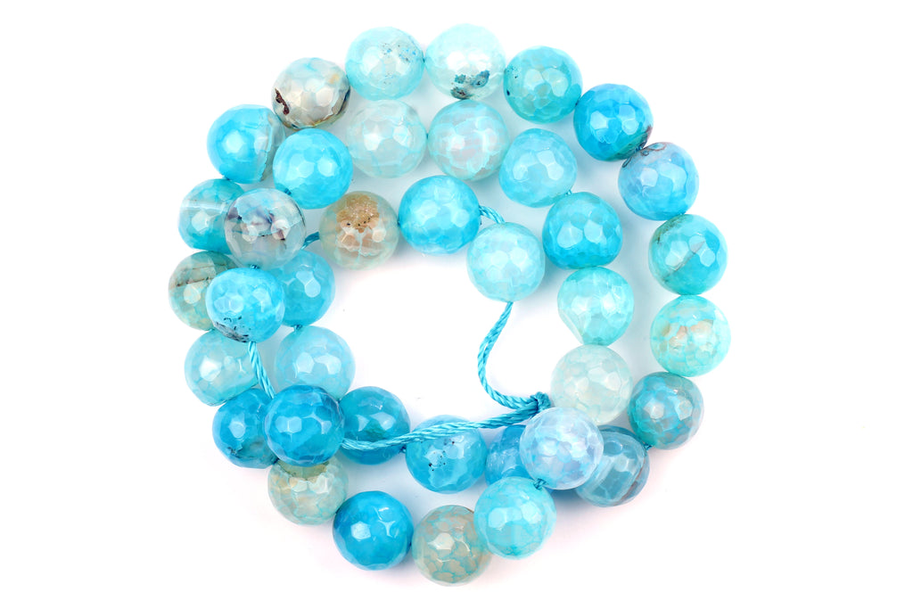 Kerrie Berrie UK Semi Precious Agate Bead Strands for Jewellery Making in Bright Light Blue