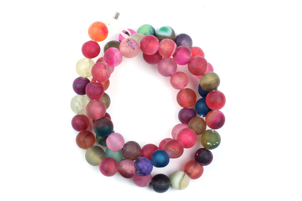 Kerrie Berrie UK Semi Precious Agate Bead Strands for Jewellery Making in Multicolour Rainbow Matte