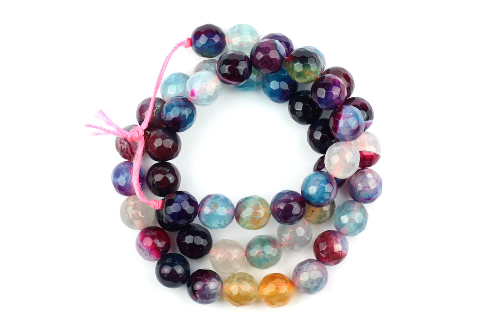 Kerrie Berrie UK Semi Precious Agate Bead Strands for Jewellery Making in Faceted Mixed Blues and Purples