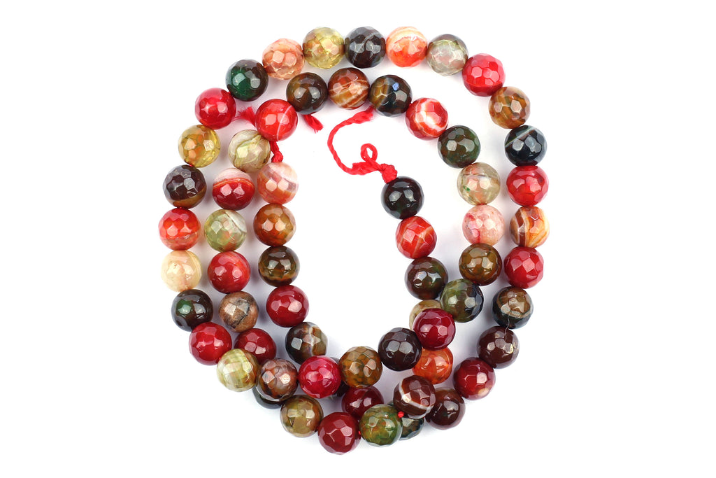 Kerrie Berrie UK Semi Precious Agate Bead Strands for Jewellery Making in Faceted Mixed Reds, Greens and Browns