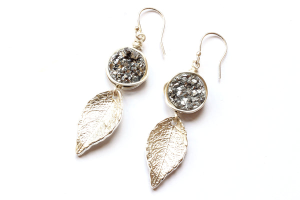 Kerrie Berrie Silver plated Druzy Crystal Earrings Drusy Jewellery Silver Leaf Charm