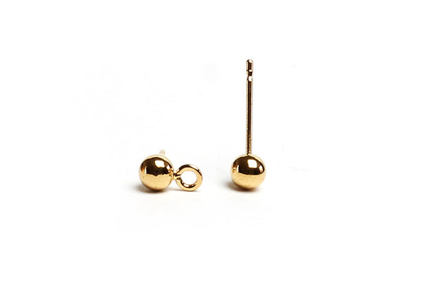 Kerrie Berrie Gold Ball Studs with Loop