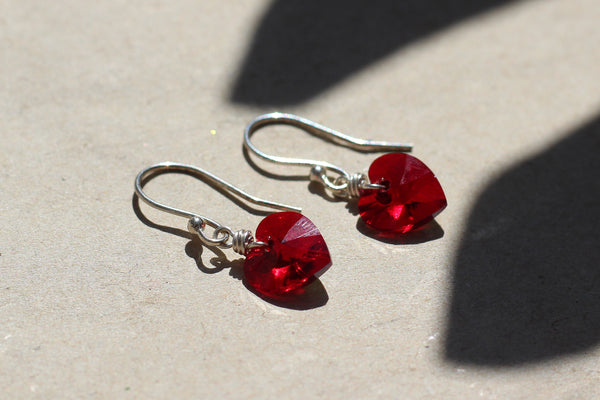 Kerrie Berrie Swarovski Red Love Heart Sterling Silver Earrings