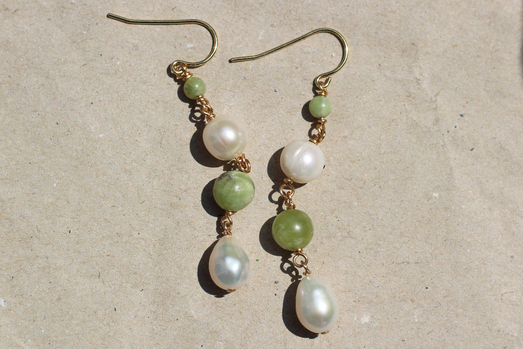 Kerrie Berrie Handmade Gold Earrings Made from Real Pearls and Olivine Peridot Beads