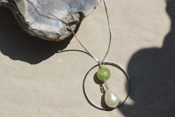 Kerrie Berrie Handmade Silver Necklace Made from Real Pearls and Olivine Peridot Beads
