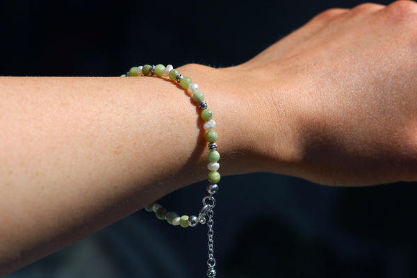 Kerrie Berrie Handmade Sterling Silver Bracelet Made from Real Pearls and Olivine Peridot Beads