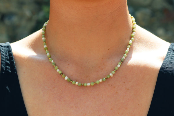 Kerrie Berrie Handmade Gold Necklace Made from Real Pearls and Olivine Peridot Beads