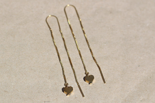 Gold-filled Hematite Heart Threader Earrings
