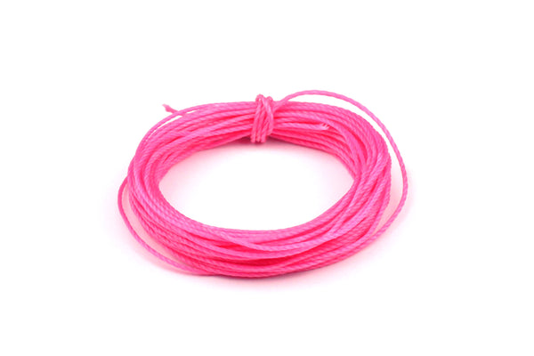 Bright Pink Waxed Cotton for Beading and Jewellery Making - 0.8mm (5 metres)