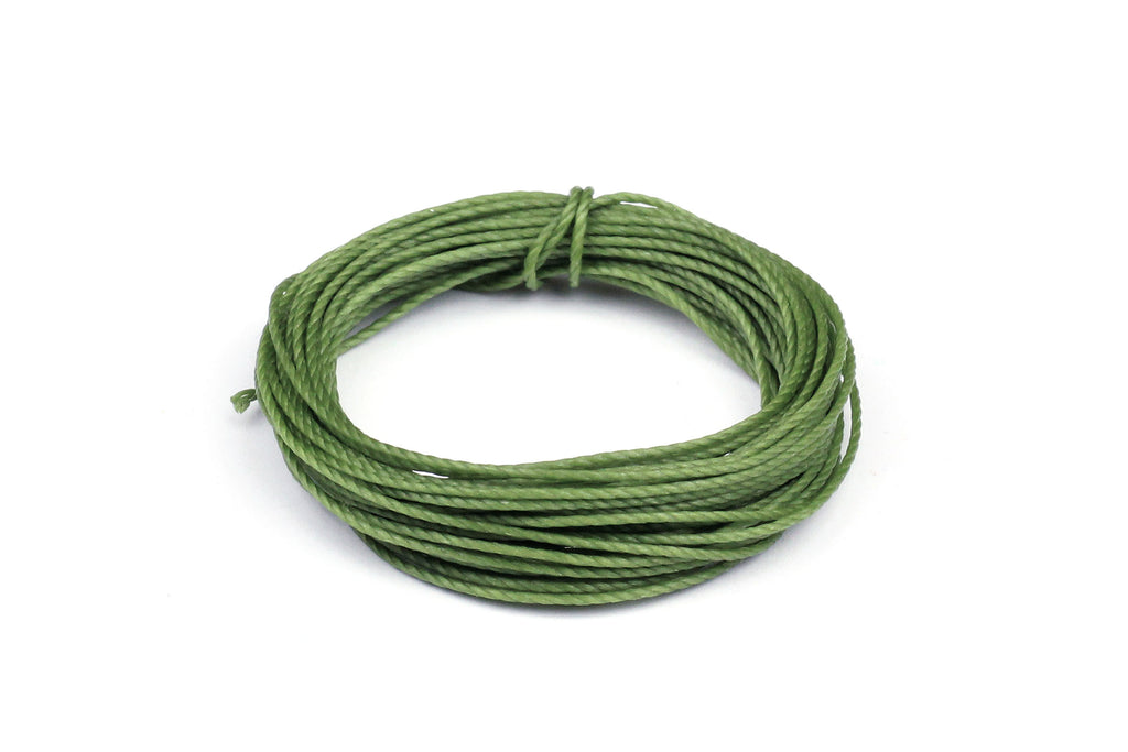 Green Waxed Cotton for Beading and Jewellery Making - 0.8mm (5 metres)