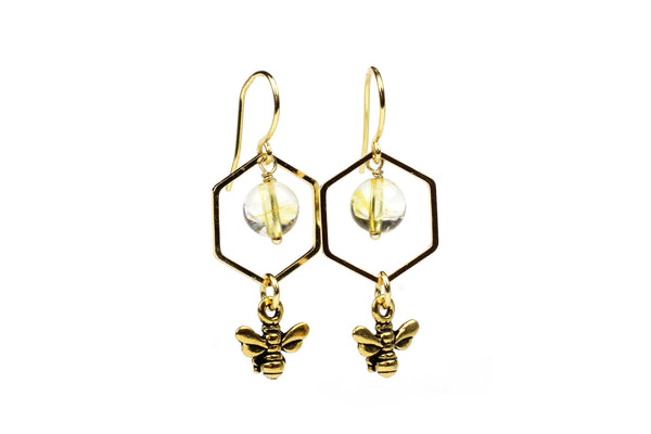Gold Plate Bee and Citrine Handmade Drop Dangle Earrings