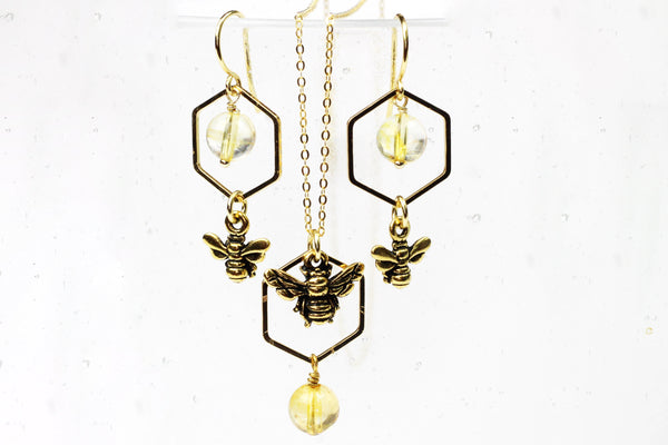 Gold-Plated Bee & Citrine Necklace and Earrings Gift Set