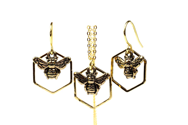 Gold-Plated Bumble Bee Necklace and Earrings Gift Set