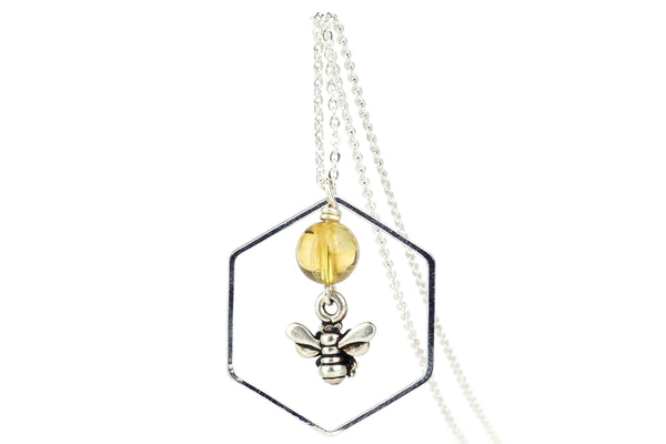 Handmade Silver Bee and Citrine Necklace – 16-inch