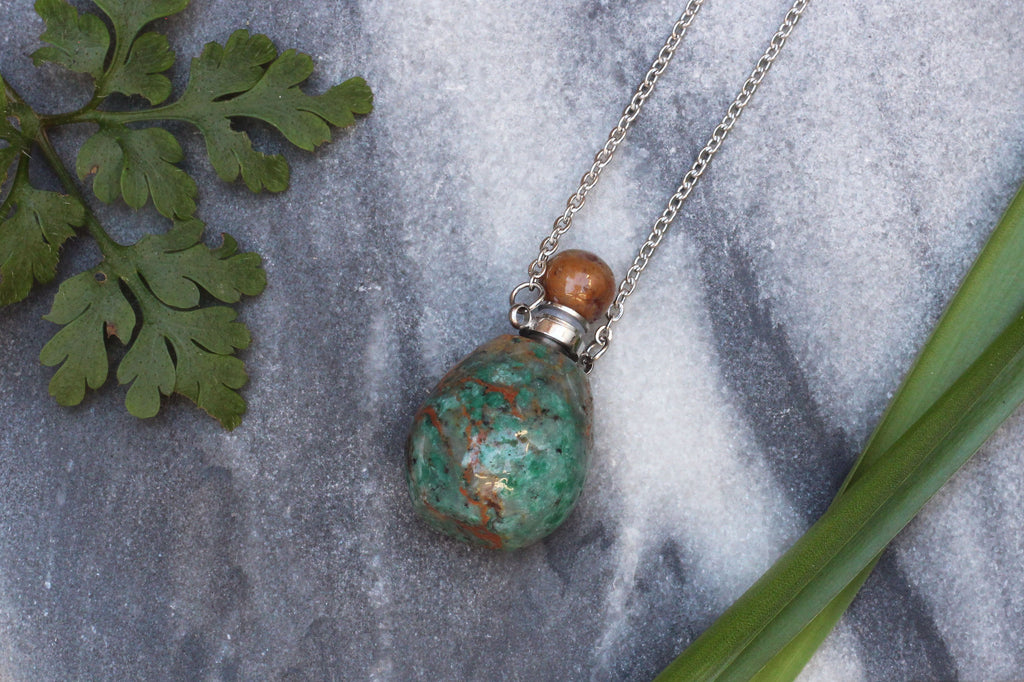 Kerrie Berrie Green Jasper Semi Precious Perfume Bottle Necklace with Stainless Steel Silver Chain