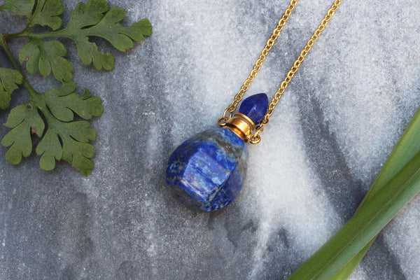 Kerrie Berrie Lapis Lazuli Perfume Bottle Necklace with Gold Plated Chain