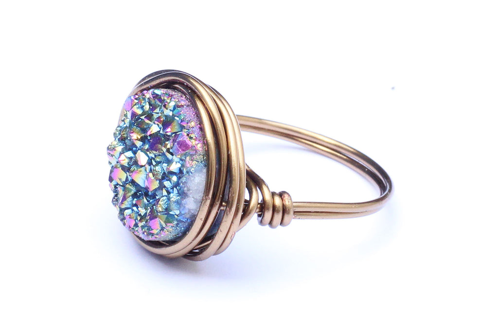 Druzy Crystal Brass Wire-wrapped Ring – CHOICE OF COLOURS