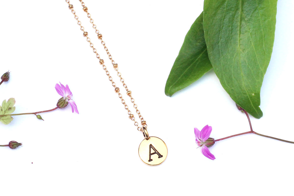 Kerrie Berrie Personalised Letter Charm Gold Chain Necklace