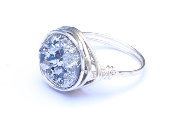 Druzy Crystal Sterling Silver Wire-wrapped Ring – CHOICE OF COLOURS