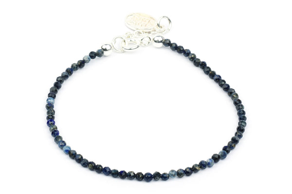 Kerrie Berrie Colourful Genuine Real Lapis Lazuli and Silver Bracelet in Blue