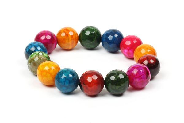Kerrie Berrie Colourful Elasticated Genuine Real Agate Bracelet in Multi Colour
