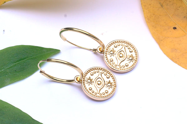 Gold Coins on Gold Filled Hoop Earrings.