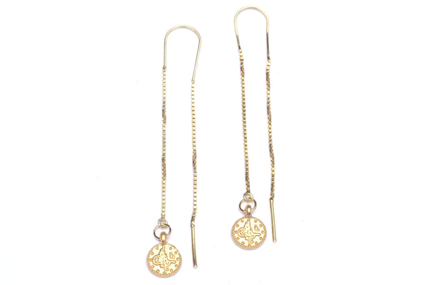 Long Chain Threader Coin Earrings