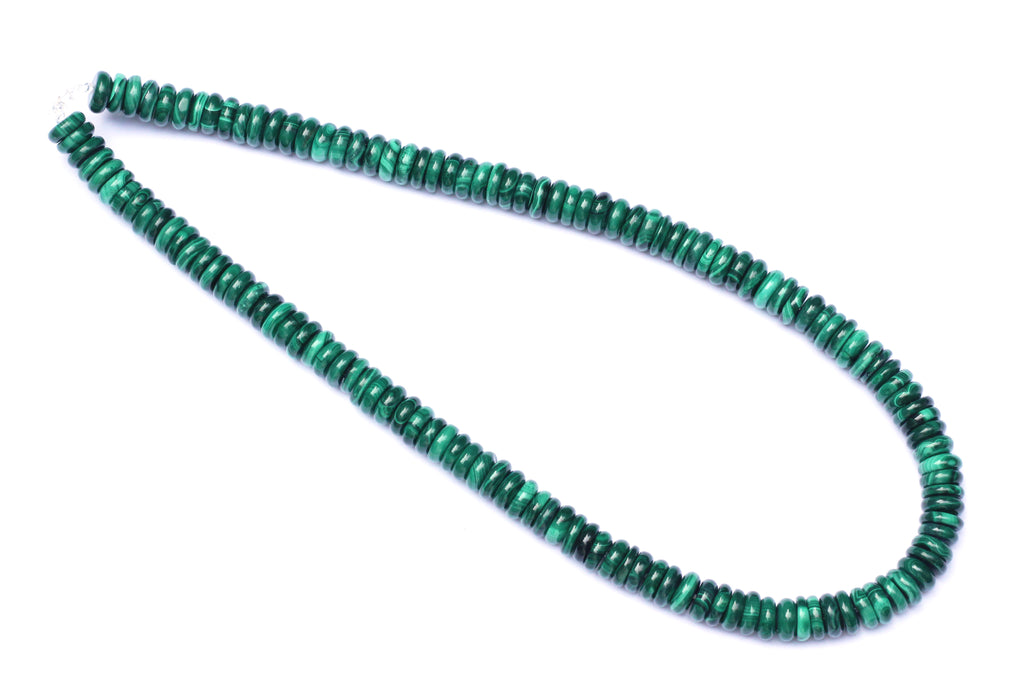 Malachite Semi-precious strand of 2 x 8mm disc beads for jewellery making