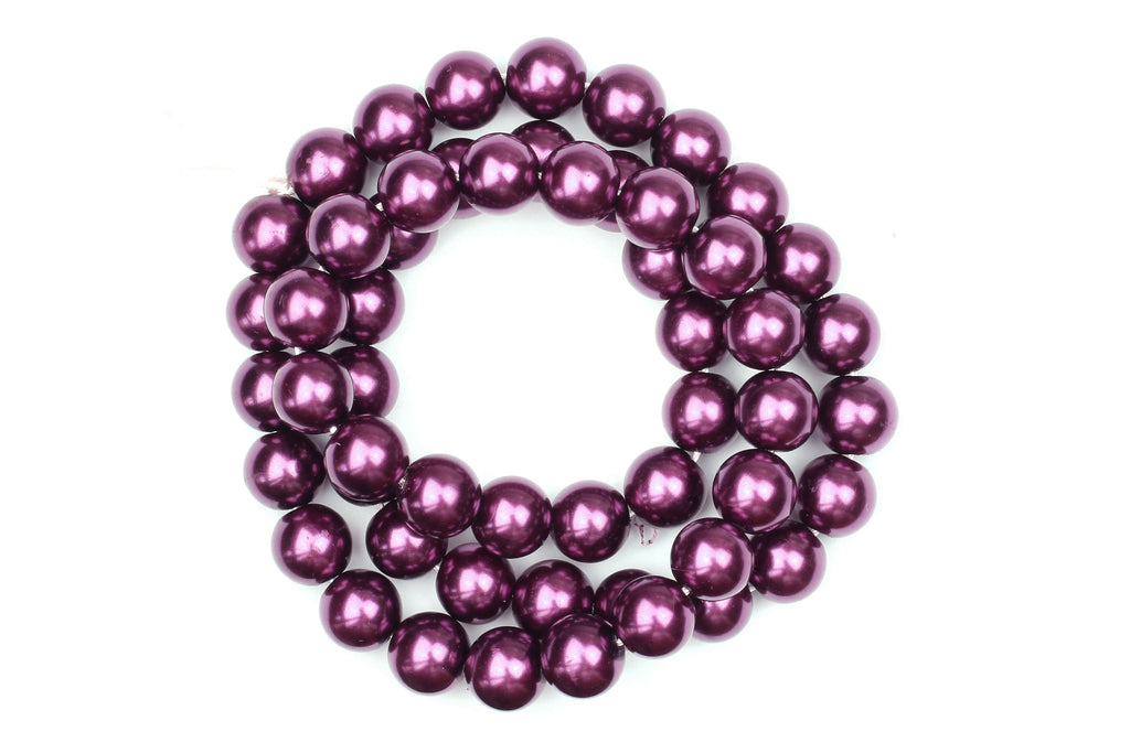 Kerrie Berrie Jewellery Making Supplies UK Glass Faux Pearls for Jewellery Making in Purple Grape