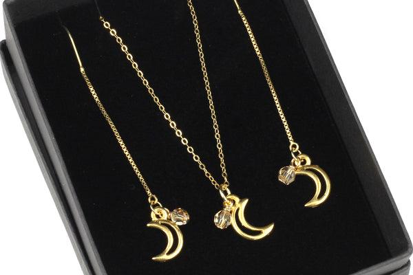Gold-filled Crescent Moon & Swarovski Crystal Necklace & Threaders Gift Set