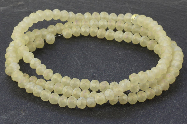 3x4mm Opaque Matt Yellow Crystal Glass Faceted Bead Strand