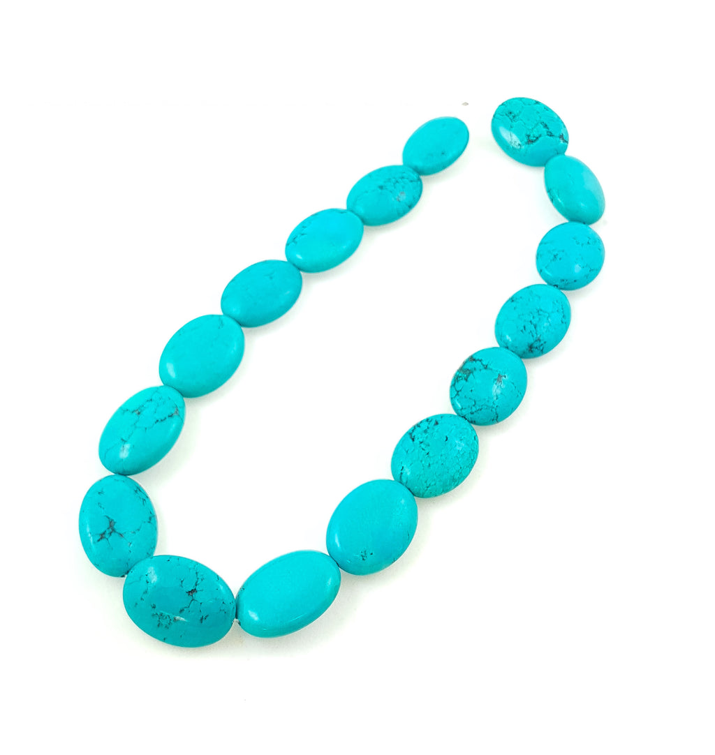 Strand of Semi-Precious  Turquoise Oval Beads 13 x 18mm