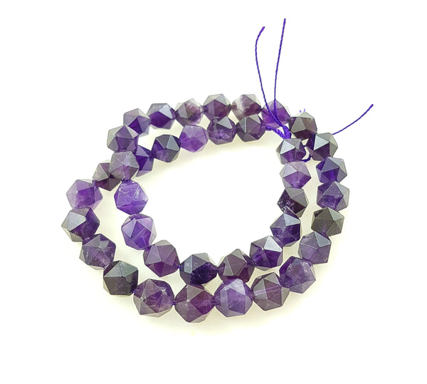Semi-precious Amethyst 12mm large faceted beads.