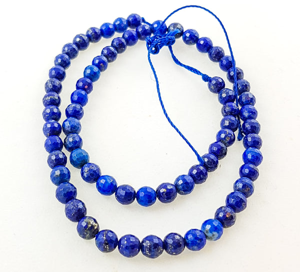Strand of Semi-Precious Lapis 6mm Faceted Round Beads.