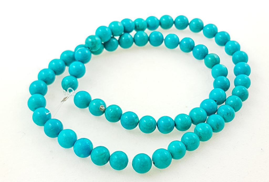 Strand of Semi-Precious 6mm Round Turquoise Beads