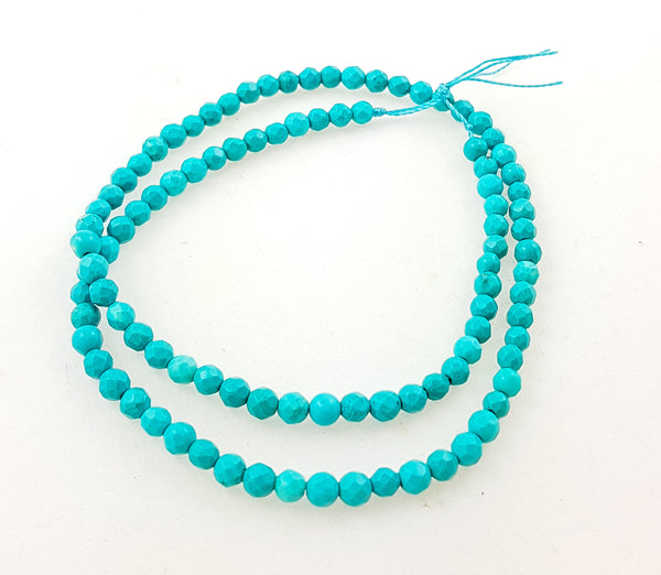 Strand of Semi-Precious 4mm Faceted Turquoise Beads