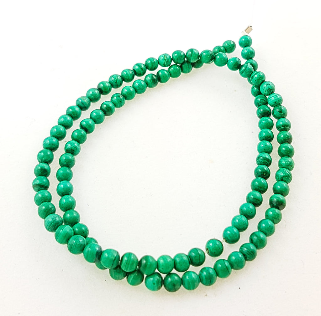 Semi-precious Malachite 4mm round beads.