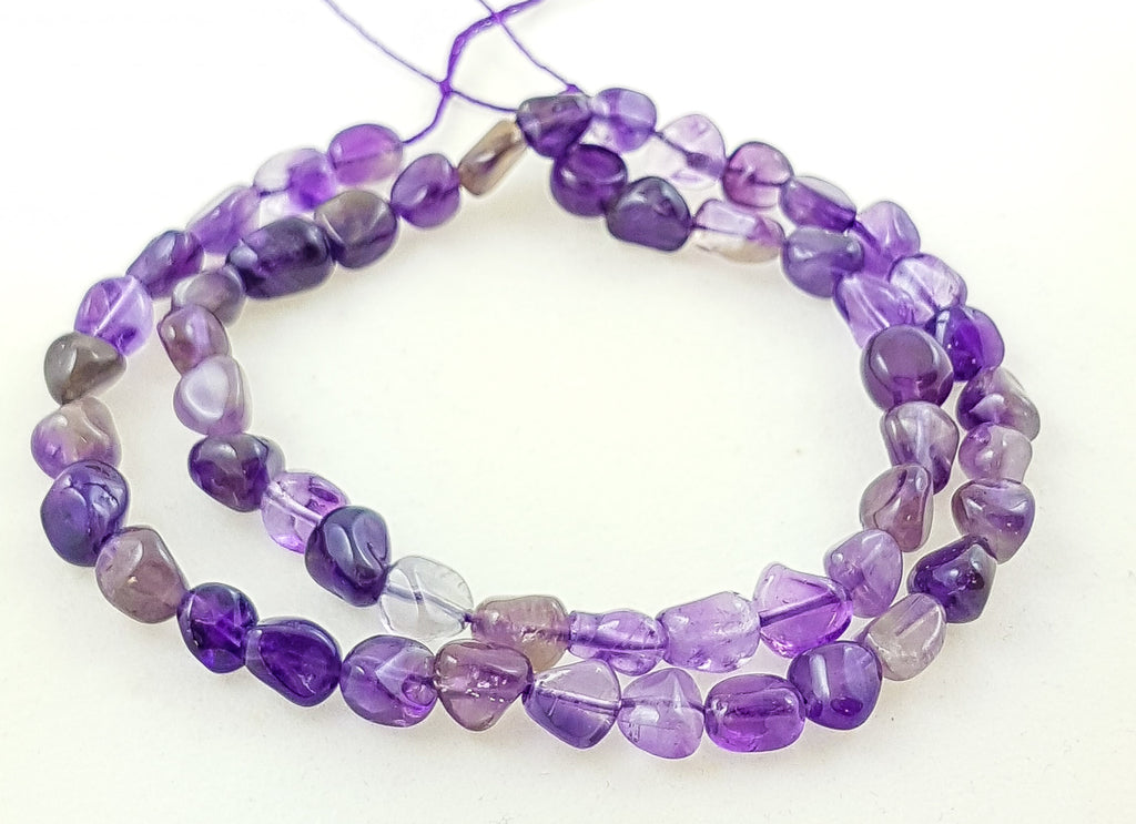 Semi-precious Amethyst Small Nugget Beads. Approx. 8mm x 6mm